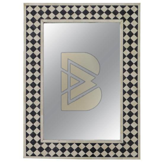Bone Inlay Checkerboard Design Black Mirror