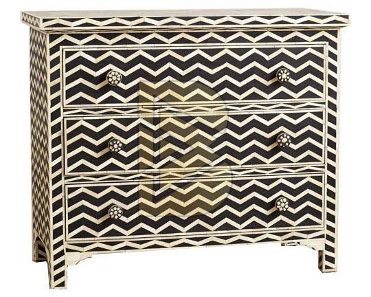 Bone Inlay Chevron Design Black Chest of Three Drawer 01
