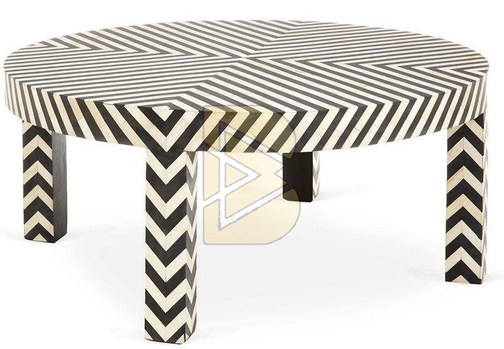 Bone Inlay Chevron Design Black Coffee Table 01