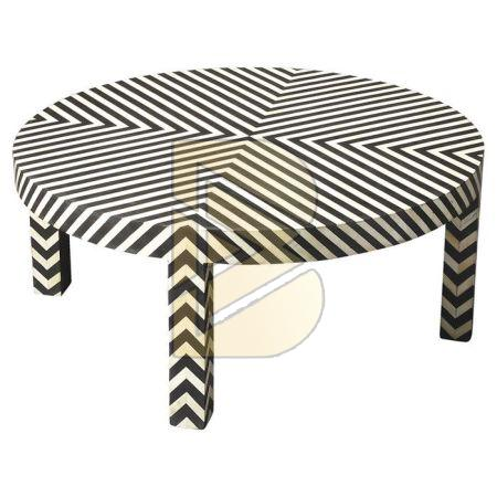 Bone Inlay Chevron Design Black Coffee Table 02