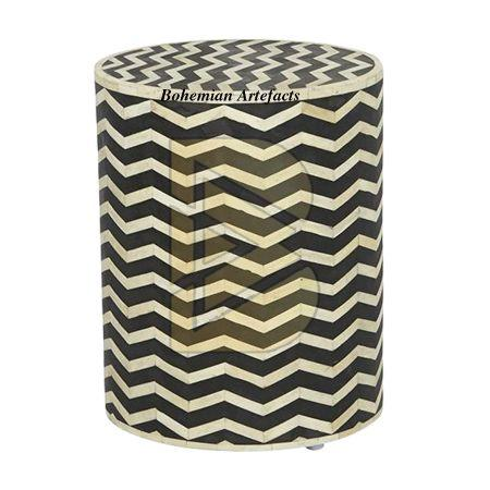 Bone Inlay Chevron Design Black Drum Shaped End Tables