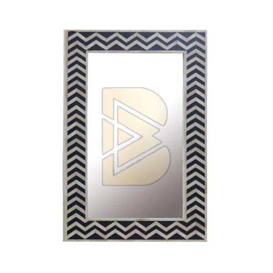 Bone Inlay Chevron Design Black Mirror