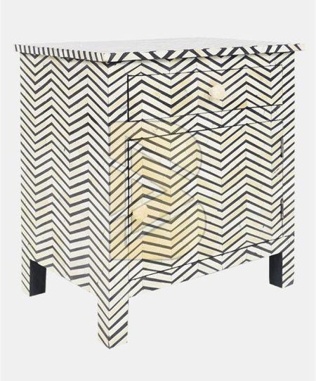 Bone Inlay Chevron Design Dove Gray Bedside Table 02