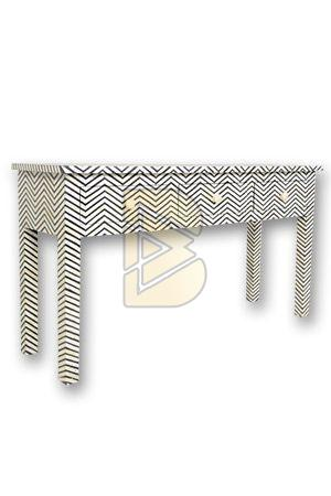 Bone Inlay 3 Drawer Chevron Design Dove Gray Console Table 01