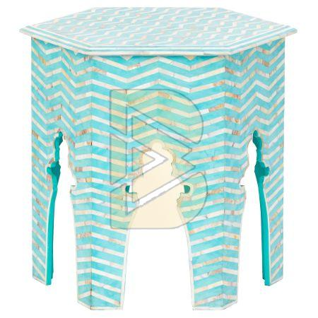 Bone Inlay Chevron Design Hexagonal Turquoise Blue End & Side Table