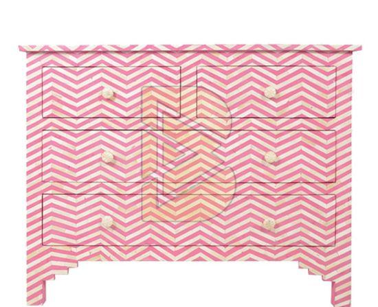 Bone Inlay Chevron Design Pink Chest of Four Drawer 01
