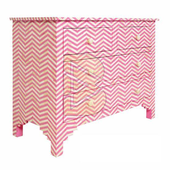 Bone Inlay Chevron Design Pink Chest of Four Drawer 02