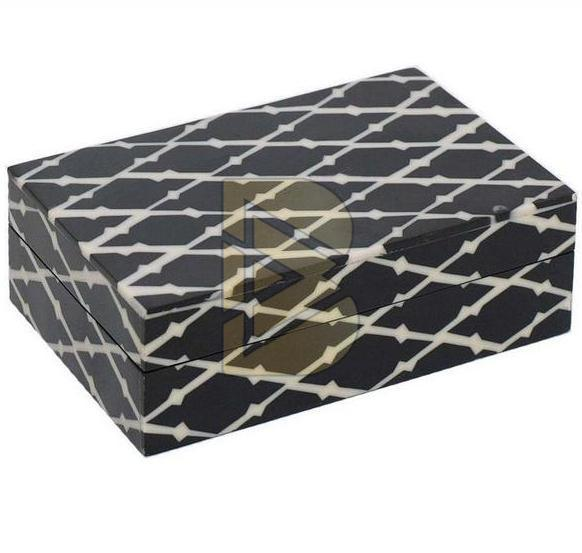 Bone Inlay Crisscross Design Black Box