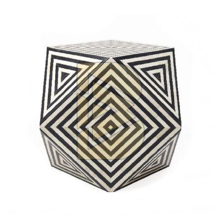 Bone Inlay Diamond Shaped End & Side Tables