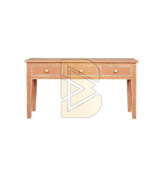 Bone Inlay 3 Drawer Fish scale Design Console Table