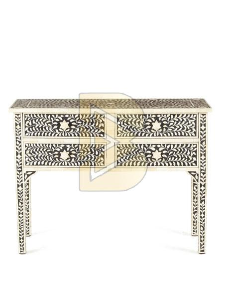 Bone Inlay Floral Design Black and Ivory With 4 Drawers Console Table 01