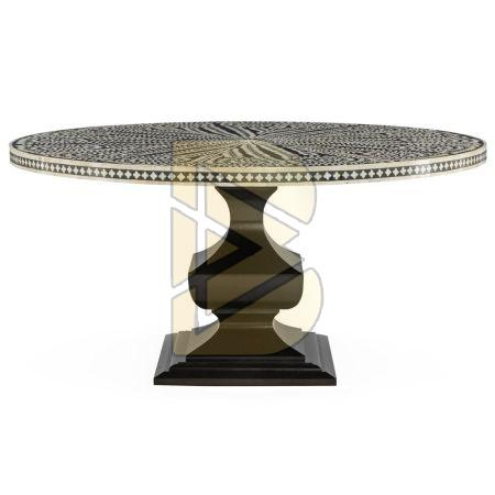 Bone Inlay Floral Design Black Dining Table 01