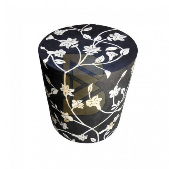 Bone Inlay Floral Design Black Drum Shaped End Table 01