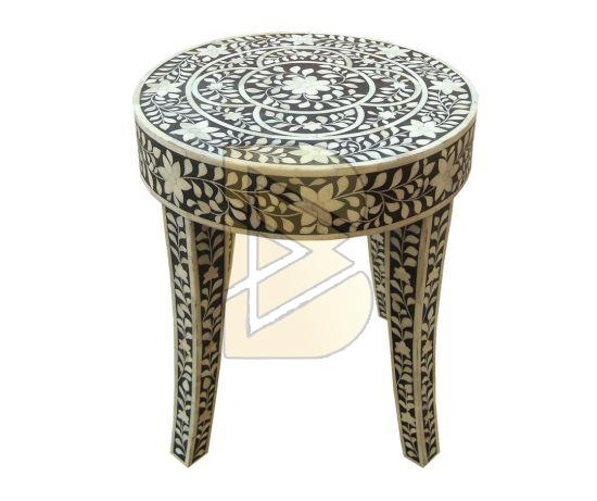 Bone Inlay Floral Design Black End & Side Table