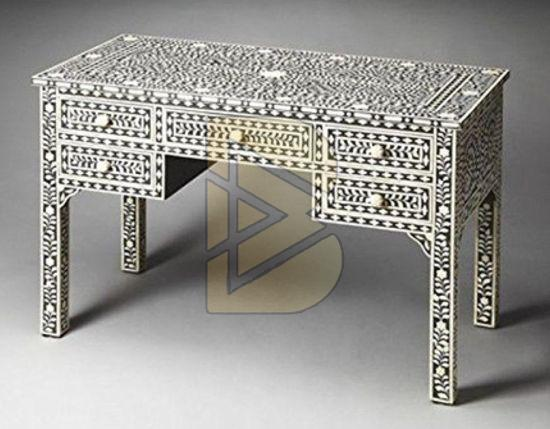 Bone Inlay 5 Drawer Floral Design Black Console Table