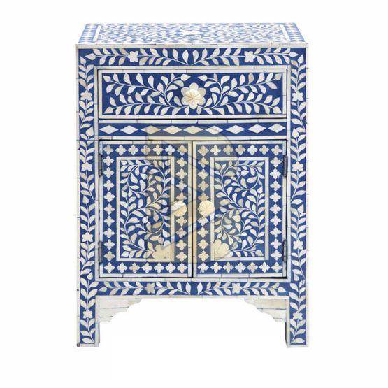 Bone Inlay Floral Design Blue Bedside Table 01