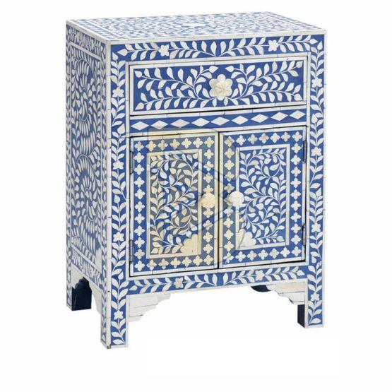 Bone Inlay Floral Design Blue Bedside Table 02