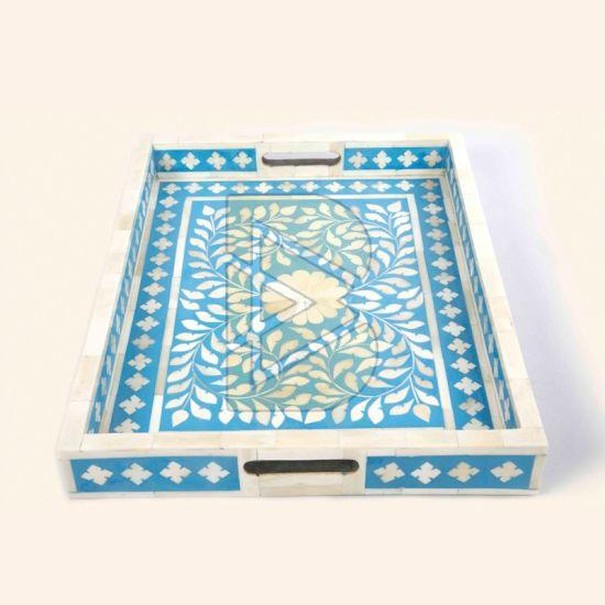 Bone Inlay Floral Design Blue Tray 02