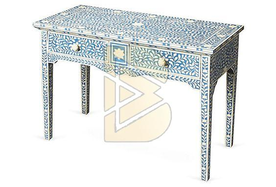 Bone Inlay 2 Drawer Floral Design Blue Console Table