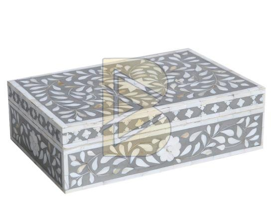 Bone Inlay Floral Design Gray Box 01
