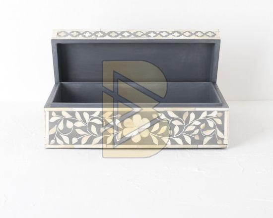 Bone Inlay Floral Design Gray Box 02