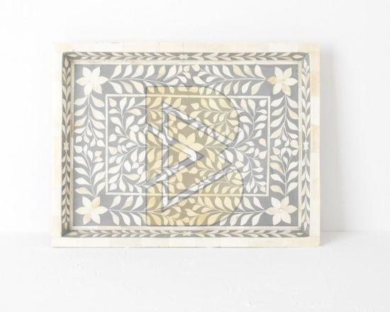 Bone Inlay Floral Design Gray Tray 01