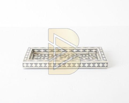 Bone Inlay Floral Design Gray Tray 02