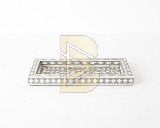 Bone Inlay Floral Design Gray Tray 02