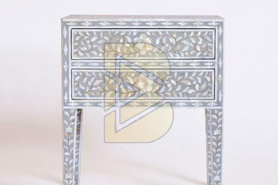 Bone Inlay Floral Design Light Gray Bedside Table