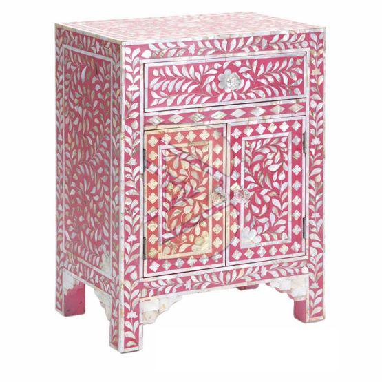 Bone Inlay Floral Design Pink Bedside Table 02