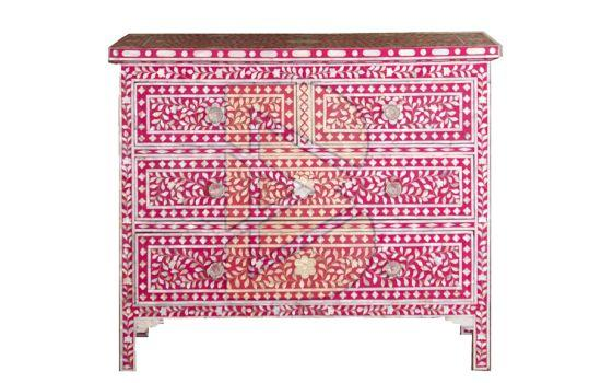 Bone Inlay Floral Design Pink Chest of Four Drawer