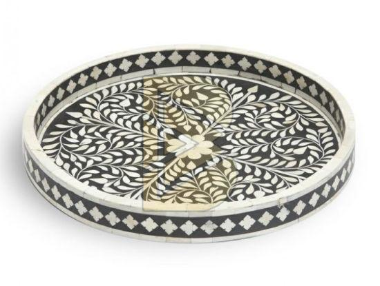 Bone Inlay Floral Design Round Black Tray