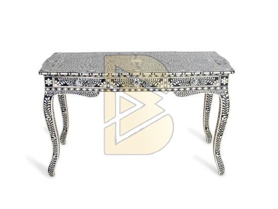 Bone Inlay Floral Design Tiger Leg Black Console Table