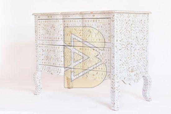 Bone Inlay Floral Design Tiger legs White Chest of Two Drawer 01