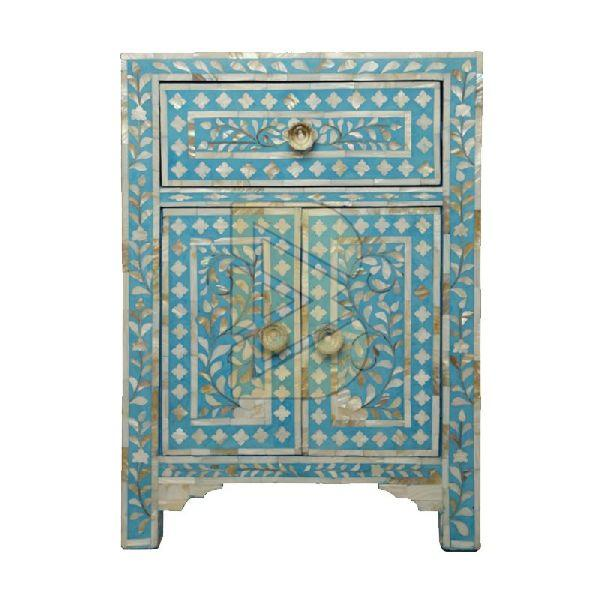 Bone Inlay Floral Design Turquoise Blue Bedside / Nightstand 01