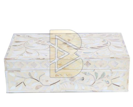 Bone Inlay Floral Design White Box 01