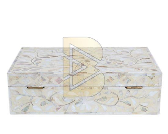 Bone Inlay Floral Design White Box 02