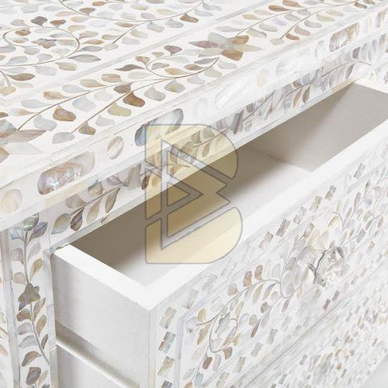 Bone Inlay Floral Design White Chest of Four Drawer