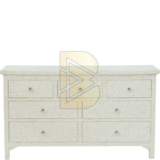 Bone Inlay Floral Design White Chest of Seven Drawer 01