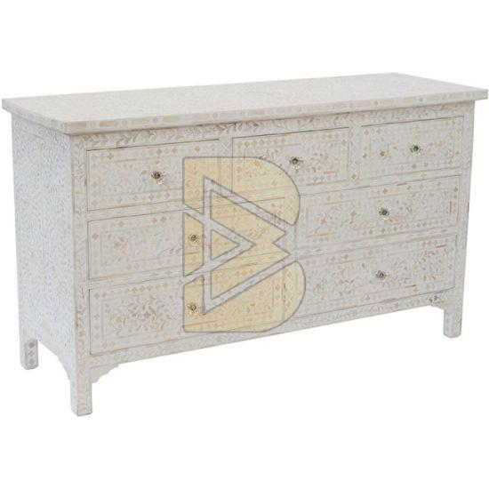 Bone Inlay Floral Design White Chest of Seven Drawer 02