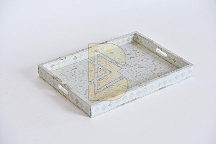 Bone Inlay Floral Design White Tray 01