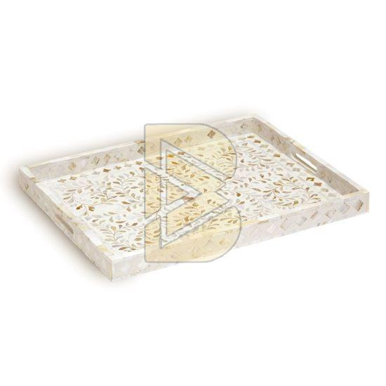 Bone Inlay Floral Design White Tray 02