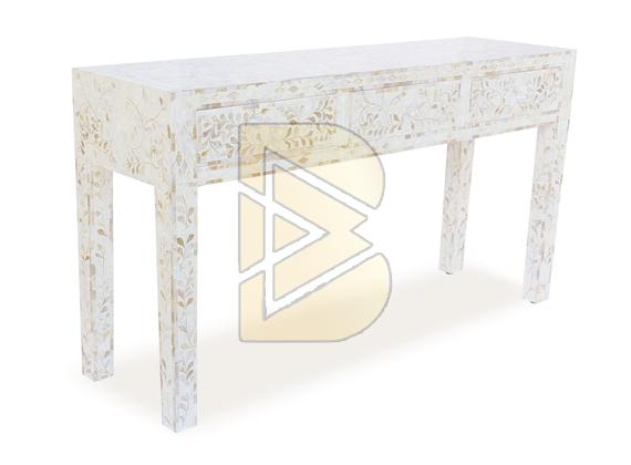 Bone Inlay 3 Drawer Floral Design White Console Table