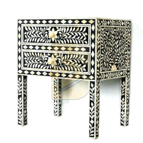 Bone Inlay Flower Design Black Bedside Table