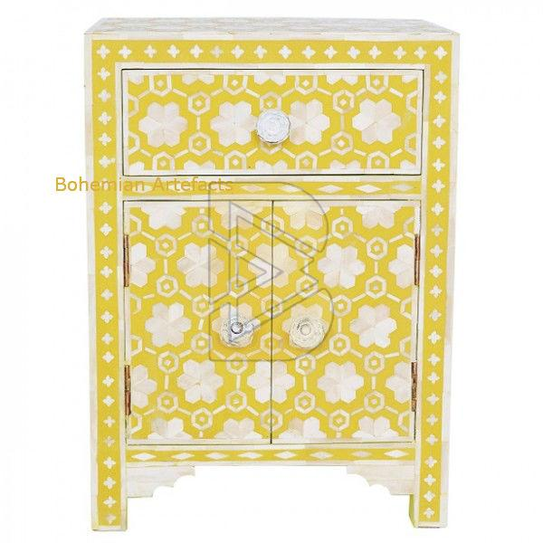 Bone Inlay Flower Design Mustard Bedside Table 01