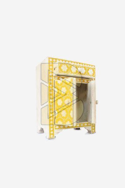 Bone Inlay Flower Design Mustard Bedside Table 02