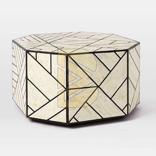 Bone Inlay Full Geometric Design White Coffee Table