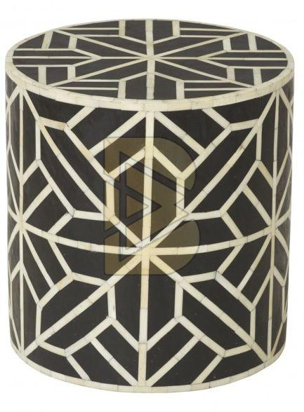 Bone Inlay Geometric Design Black Drum Shaped End Tables