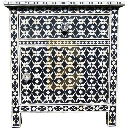 Bone Inlay Geometric Design Blue Bedside Table 01