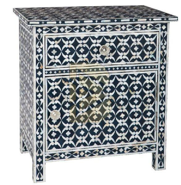 Bone Inlay Geometric Design Blue Bedside Table 02